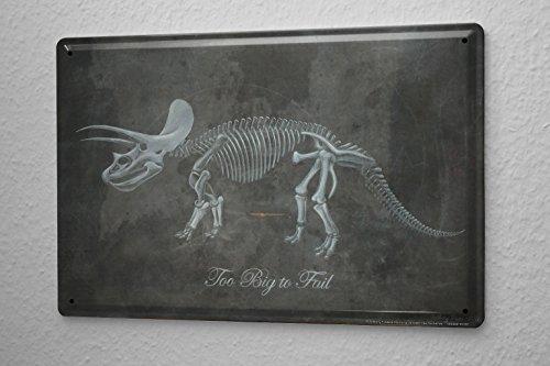 Cartel De Chapa Decoración Dinosaurio Dino esqueleto Letrero De Metal 20X30 cm