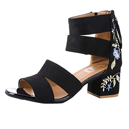 Sandalen High Heel Reißverschluss Stickerei High Heels Schuhe Sommer Römersandalen mit Blockabsatz(Weiß,39) ()