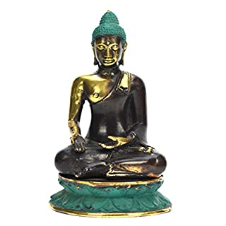 Ars-Bavaria Handarbeit: Thai Buddha auf Lotosthron Varadra Mudra Bronze mit goldenen Akzenten