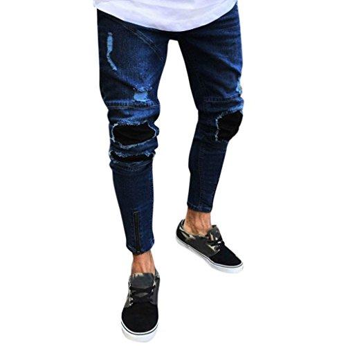 Yesmile uomo sottile biker jeans zip denim,jeans uomo strappati pantaloni slim fit moto vintage jeans denim hip hop streetwear elasticizzati da uomo jeans skinny fit casual biker strappati distrutto taglio straight pantaloni (xl, blu scuro)