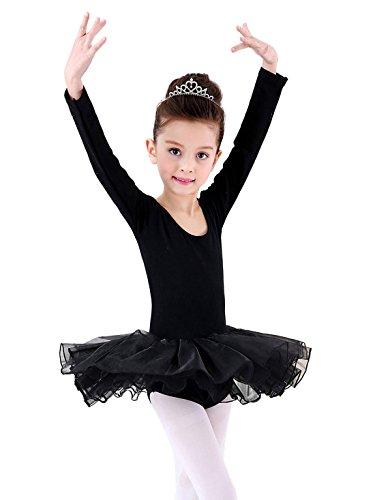 Happy Cherry Mädchen Ballettkleid mit Geschenkter Strumfhose, Balletttrikot mit Chiffon Röckchen Ballett Tütü Tutu Ballettanzug Größe XXL für Körpergröße ca.150cm - (Ballett Schwarzes Tutu)