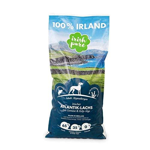 Irish Pure Adult Atlantik-Lachs mit Kelp-Alge & Gemüse - Hypoallergenes Trockenfutter für Hunde, Hoher Fleischanteil, Getreidefrei, Sensitiv, Bio Hundetrockenfutter, Hundefutter, alle Rassen - 4 kg