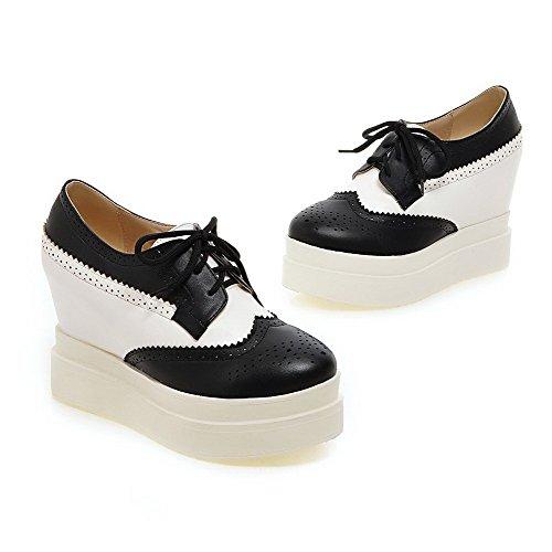 AgooLar Damen Weiches Material Schnüren Rund Zehe Hoher Absatz Gemischte Farbe Pumps Schuhe Schwarz
