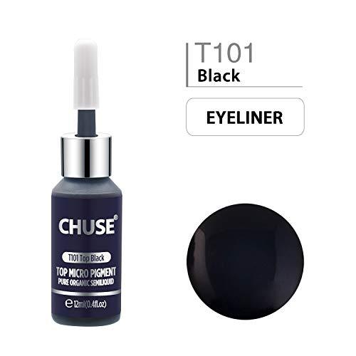 CHUSE T101 Top Noir Couleur cosmétique permanente d'encre de tatouage de maquillage de micro-colorant de Microblading SGS passé, DermaTest 12ml (0.4fl.oz)