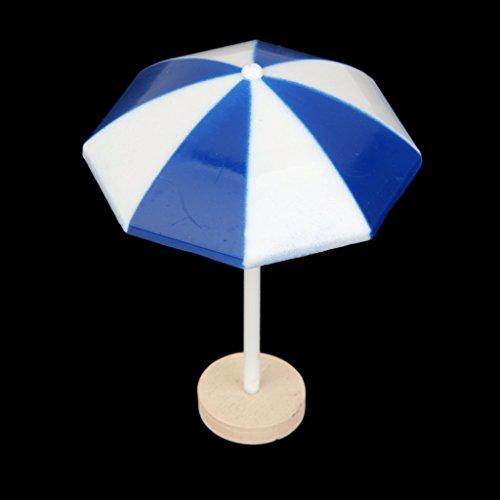 Parasol de Plage Miniature PVC Décoration pour Micro Paysage Bonsaï - Bleu