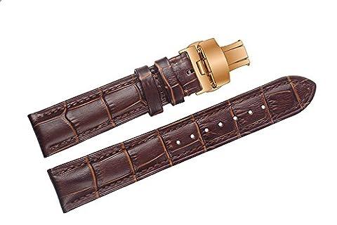 26mm Brown cuir de vachette Montre remplacement Courroies / bandes avec or rose Boucle déployante