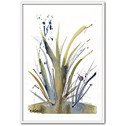 Cuadriman Plantas Mediano Cuadro, Madera, Verde y Gris, 92 x 62 cm