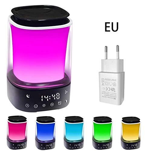 Lichtwecker mit Aroma Luftbefeuchter LED Bunte Stimmung Nachtlampe Ätherisches Öl Diffusor Digitaler Wecker 6 Natürliche Geräusche Simulation Sonnenaufgang Dimmbare Beleuchtung Farbe und Helligkeit,EU -