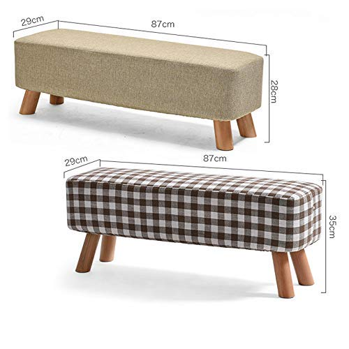 MJY Sofa Bank Massivholz Hocker Pouf Hocker Gepolsterte Fußstütze Make-up Hocker Schuhe ändern Hocker Mode Bänke,C,87 * 29 * 35 cm (Pouf Hocker Bank)