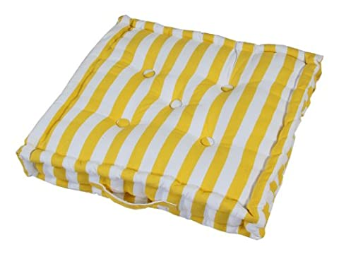 Homescapes - Thick Stripe Yellow - 100% Cotton - Floor Cushion - Bright Cheerful Sunshine - 40 x 40 x 10 cm Square - Indoor - Garden - Dining Chair Booster - Seat Pad