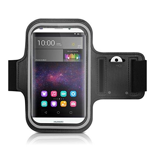 Galleria fotografica kwmobile fascia da braccio sportiva per Huawei P8 Lite (2015) - jogging corsa borsa da sport fascia fitness con scomparto per chiavi nella fascia da braccio in nero