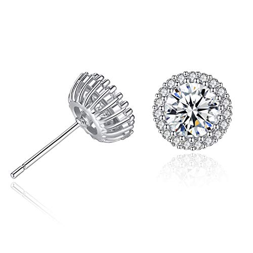 Cool-House-UK Jewelry Neue Runde Edelsteine   Neue Kronen-Ohrringe Einzel Micro-Intarsien Voll Zirkon Ohrringe