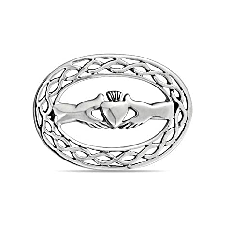 Celtic Knot Hands Heart Claddagh Brooch 925 Silver Pin
