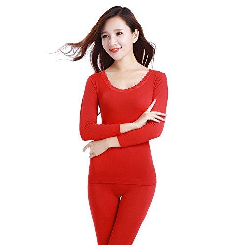 Hikenn Thermo-unterwäsche Sexy Damen Kleidung Winter Nahtlose Antibakterielle Warmen Dessous Druck Langen Unterhosen Frauen Körper Geformt Sets Rot