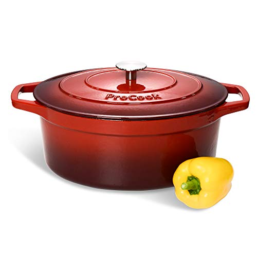 ProCook - Grande Cocotte Faitout Oval | Fonte Émaillée | Compatible Induction | Dégradé Rouge | 30 cm / 6,2 L