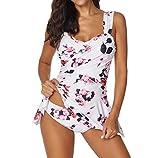 MORETIME Costumi da Bagno, Costumi Estate Donne Set Tankini con Pantaloncini Signore Bikini Set Swimwear Push-Up Reggiseno Imbottito