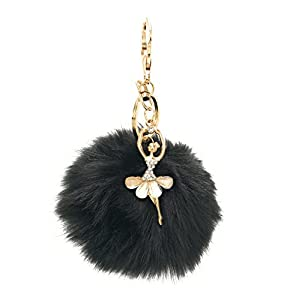 S.A.V.I 10 cm Big Fur Pom Pom Bag Charm Dancing Angel Keychains & Keyrings (Maroon)