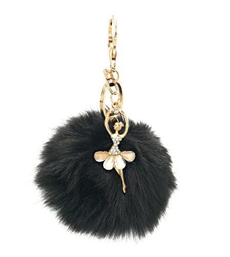 S.A.V.I 10 CM Big Fur Pom Pom Bag Charm Dancing Angel Keychains & Keyrings