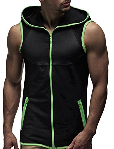 SOMTHRON Herren Ärmellose Zip Front Baumwolle Sport Hoodies Aktive Weste Jacke Reißverschluss Athletic Bodybuilder Hoodies Tanks Sportswear Tops (GR-L) Front-zip-hoodie