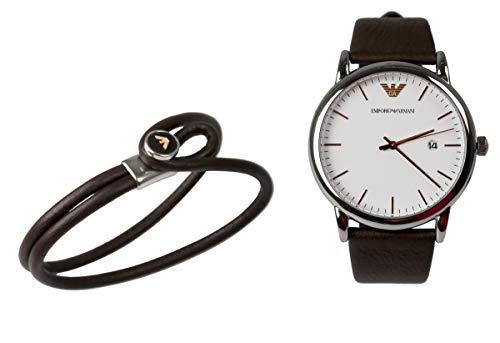 EA Emporio Armani Herren Uhren Set AR80006 Armbanduhr und Armband Leder Braun EdelstahlSilber