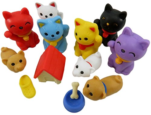 Dog Meets Cat Take-Apart Mini Erasers (Pack of 12) -