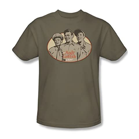 Andy Griffith - 3 Funny Guys - Adult Safari Green S/S T-Shirt For Men, XX-Large, Safari Green