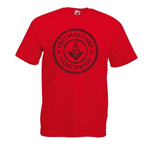 lepni.me T-Shirt da Uomo Simbolo massonico massoni Regali (XX-Large Rosso