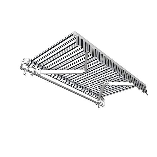Aluminium Markise - stabil - Gelenkarmmarkise m. Volant / 395 x 300 cm/grau/Weiss (3,95 x 3,00 m)