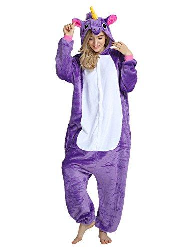 Einhorn Kostüm Karton Tierkostüme Halloween Kostüme Jumpsuit Erwachsene Schlafanzug Unisex Cosplay- Gr, L(Höhe162-175CM), Lila Pferd (Das Tier Halloween-kostüm)