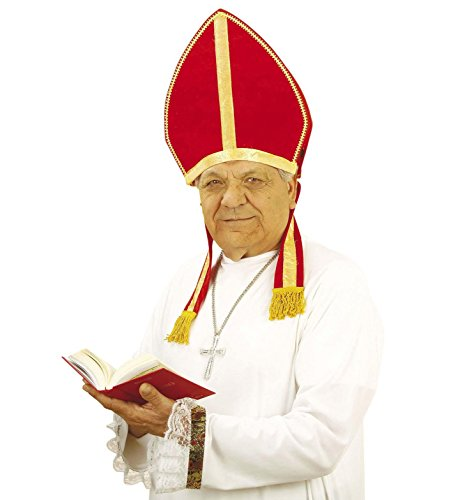 Hut Papst Kostüm - Widmann Bischofsmütze (Mitra), Nikolausmütze aus Samt