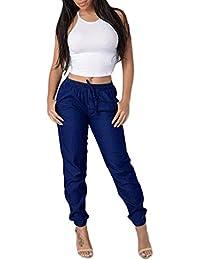 0ff69ead0bf7 SOMESUN Donne Pantaloni Casual a Vita Alta con Pantaloni in Denim Blu  Elasticità Jeans Blue Jeans