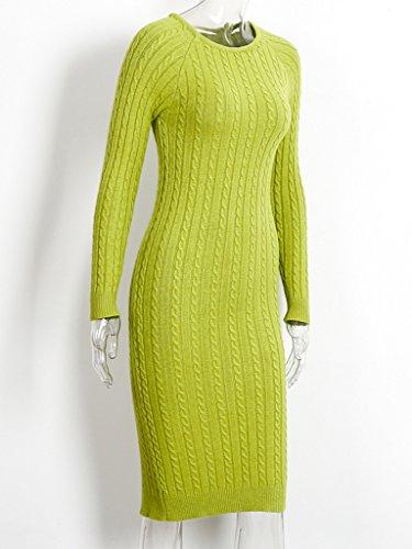 Simplee Apparel le maniche lunghe torture a bodycon cavo d'inverno a metà lunghezza divisa vestito di maglia Verde