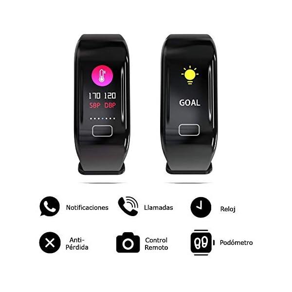 NK Pulsera de Actividad Inteligente Smartband-02, Frecuencia cardíaca, Monitor del sueño, Resistencia al Agua IP67, Podómetro, Color Negro 3