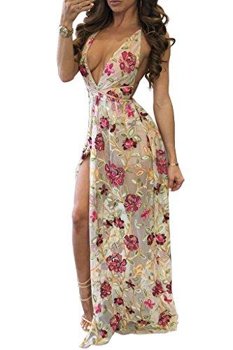 New Nude Floral bestickt Mesh Neckholder Maxi Kleid Jersey Sommer Kleid Festival Boho Kleid Größe UK 10–12EU 38–40 (Mesh-kleid Besticktes)
