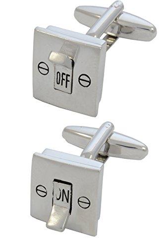 COLLAR AND CUFFS LONDON - HOCHWERTIGE Manschettenknöpfe mit GESCHENK BOX - Elektrischer Lichtschalter - On Und Off - Stilvolle Messing - Silber Farbe - Elektriker...