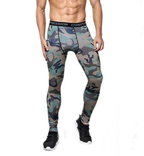 GGTFA Uomo Camuffamento Sport Leggings Compressione Strato di Base in Esecuzione di Basket Pantaloni Stretti Pantaloni Color F