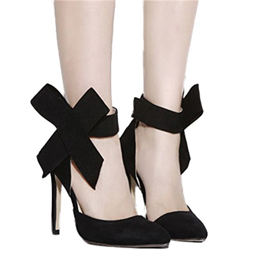 Xianshu Damen Big Bow Tie Dünne Ferse High Heels Single Spitz Schuhe Pumps(Schwarz-40) (Heels Bow Tie)