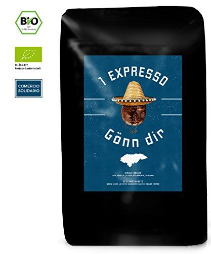 Bio Espresso Bohnen von 1Expresso | 100% Arabica Bio Kaffeebohnen aus Honduras (1000g) | Fairer Handel | säurearme, mittlere, handgeröstete Espressobohnen Röstung | Single Origin Espresso