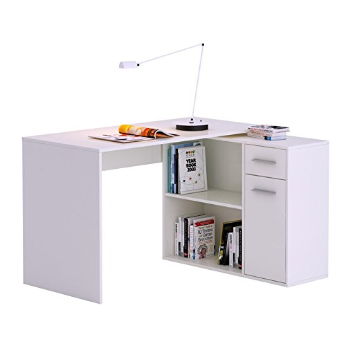 Eckschreibtisch Schreibtisch Computertisch LENA in weiß mit Regal Kinderschreibtis...