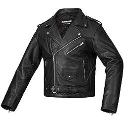 Bohmberg - Chaqueta de motociclista 100% cuero para hombre, XXL