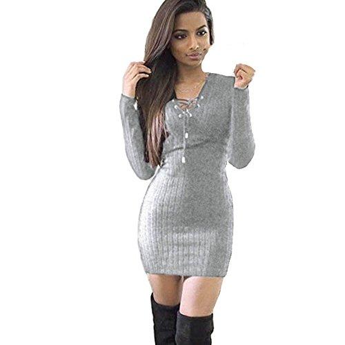 Sannysis Damen Winter Vordere Verband Halsband Langarm Gestrickte BodyCon Pullover Kleid (S, Grau) (Hoody Sweatshirt Spiel)