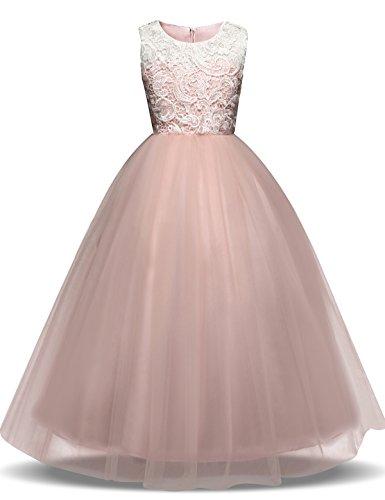 NNJXD Mädchen Ärmellos Tüll Festzug Prinzessin Hochzeit Blume Party Kleider Größe(150) 8-9 Jahre Rosa