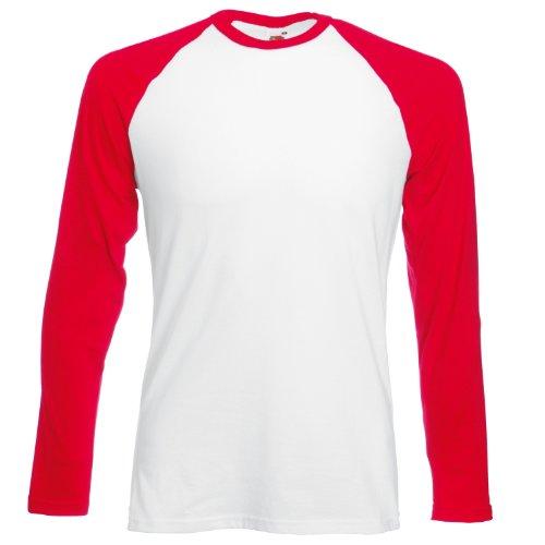 FOTL Herren Hemd Long Sleeve Baseball Tee Weiß/Rot