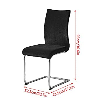 4-Piece Simple Upholstered Dining Chair Set, Velvet Chairs for Kitchen, Lounge, Living Room Side Chairs with Metal Leg, Black