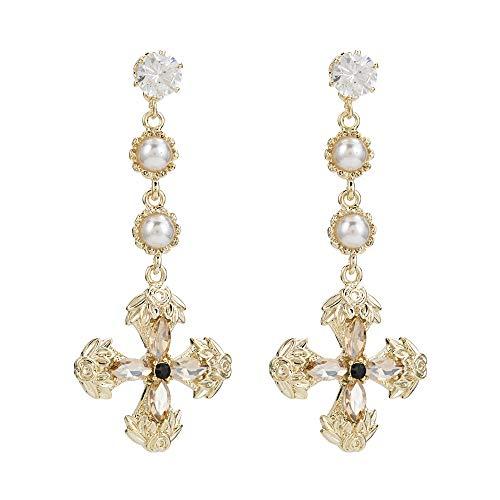 Exquisite diamantbesetzte Kreuzohrringe, stilvolles und luxuriöses Design, machen Sie edel und elegant - Winzige Gold-charme-halskette