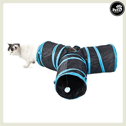 Katze Und Katzenklo Kostüm - Pets&Partner® Katzentunnel / Spieltunnel für Katzen mit 3 Eingängen und integriertem Katzenspielzeug