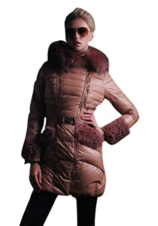 New Arrival OUXIN Women's Nature Racoon Fur Trim Two Pieces Mid Length Hooded Belted Down Coat With Mini Jacket Champagne 2XL