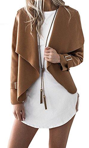 BLACKMYTH Donna Mode Cappotto Di Iana Lapel Cardigan Corto Manica Lunga Giacca Cachi