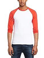 Fruit of the Loom Men's Baseball Raglan Long Sleeve T-Shirt, White/Red, Small