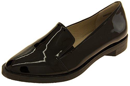 Footwear Studio Damen Betsy Elegante Flache Faux-Leder-patent-müßiggänger-Schuhe Schwarz EU 37 -